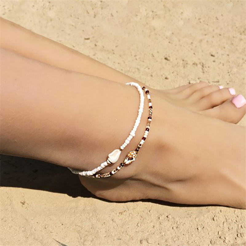 Vintage Shell Beads Anklets For Women New Multi Layer Anklet Leg Bracelet Bohemian Beach Ankle Chain Jewelry Gift