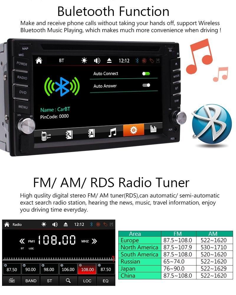 Car audio Cassette recorder player Stereo Radio 2 Din Car DVD Video Player Bluetooth GPS Navigator Map USB SD+Free Backup Camera