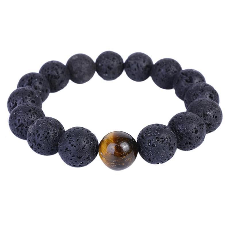 Bracelet Men Luxury Lava Stone Beads Bracelets Male Tiger Eye Stone pulseras Pulseira Masculina Jewelry