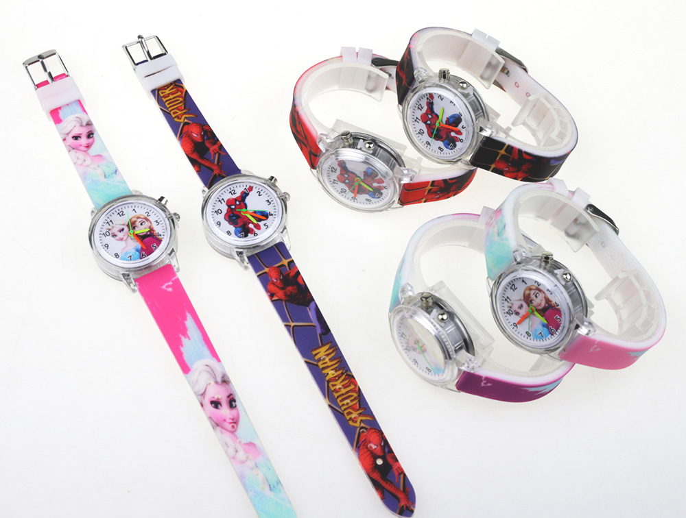 Princess Elsa and Spiderman Colorful Light Source Watch