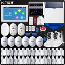 Новое поступление KERUI сенсорный экран 7 дюймов TFT цветной дисплей аварийная сигнализация wifi GSM домашняя сигнализация безопасности + двойная антенна Wi-Fi ip-камера