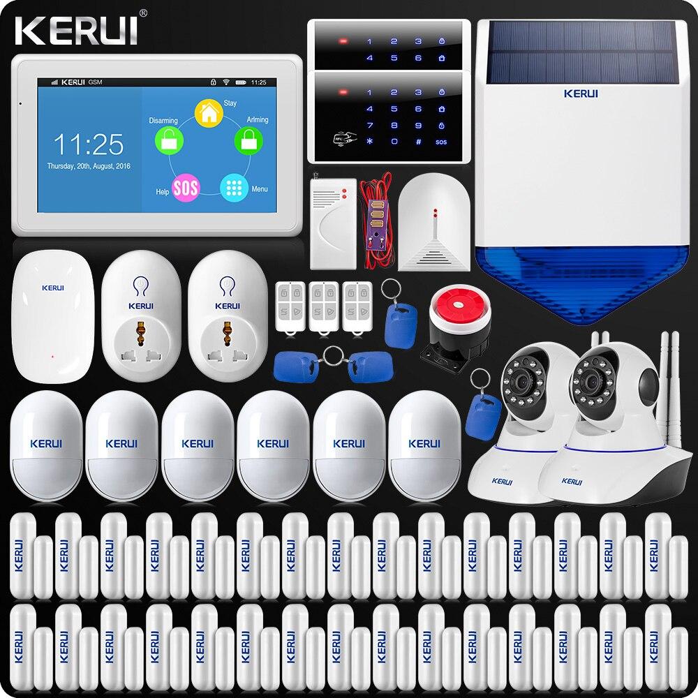 Nueva llegada KERUI pantalla táctil Color TFT de 7 pulgadas pantalla WIFI GSM sistema de alarma de seguridad de alarma casera + Dual antena Wifi cámara IP