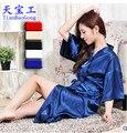 8 color de la Buena calidad sexy Mujeres ropa de dormir camisón de seda de Imitación de la ropa interior atractiva de las mujeres tentación femenina camisón AW7657