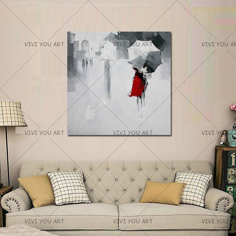 100% ruční olejomalba na plátně abstraktní moderní krásná červená paní dívka s deštníkem umění zdi pro domácí dekorace bez rámu
