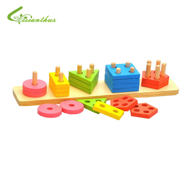 Children Educational Toys Boys Girls DIY Toys Wood Intelligence Colorful Geometry Jenga Toys Free Drop Shipping Wholesale