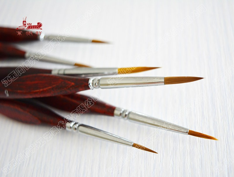 6Pcs/Set Watercolor Brush Weasel Hair Aquarelle Paintbrush Wooden Handle Artist Paint Brushes Diamond Shape Hook Line Pen