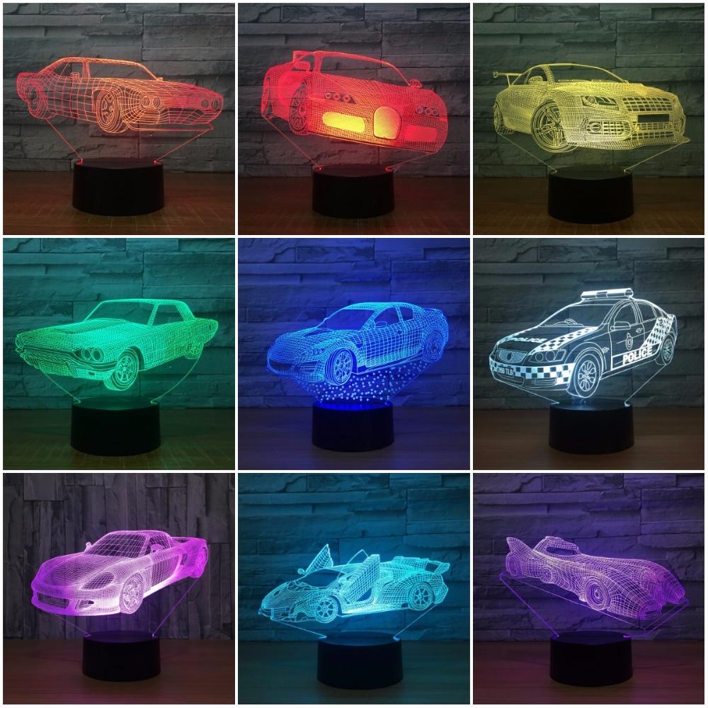 LED Car 3D NightLight Gradient Jeep Shape USB Bedside Bedroom 3D Table Lamp USB Indoor Decor Atmosphere lamp Birthday New Gift