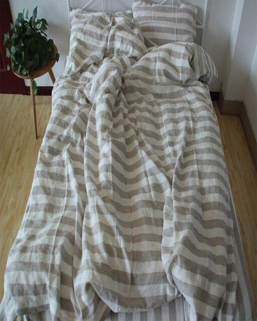 4pcs Pure Striped Linen Duvet Cover Set Natural French Linen Bedding Sets 100  Linen Pillow Case