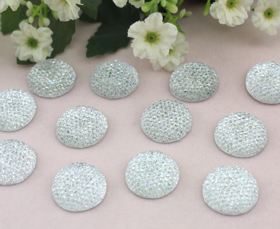 200pcs Big Bling  Rhinestone Dotted Gems Resin Cabochons Cell Phone Decor, Hair Accessory For Diy 20mm Big Stone Druzy