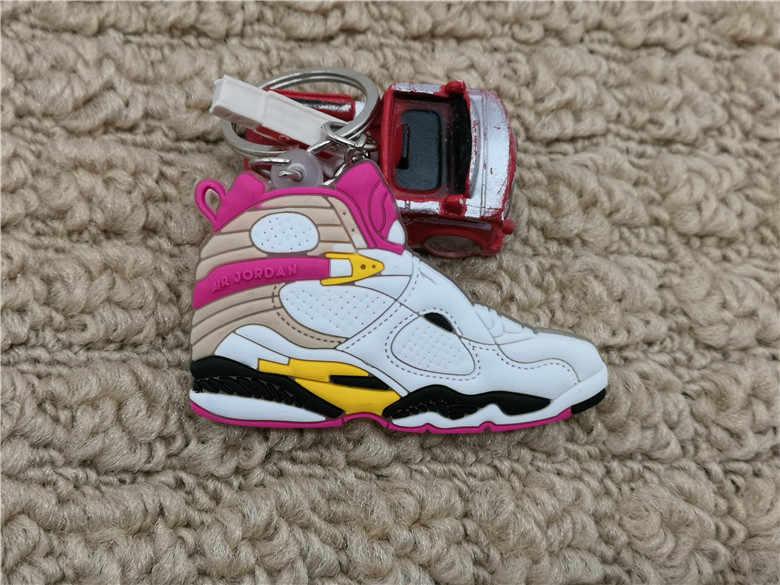 Mini Silicone Jordan 8 Sapatos Chaveiro Charme Saco Mulher Homens Crianças Presentes Chave Anel Chave Da Sapatilha Titular Acessórios Pingente de Chave cadeia