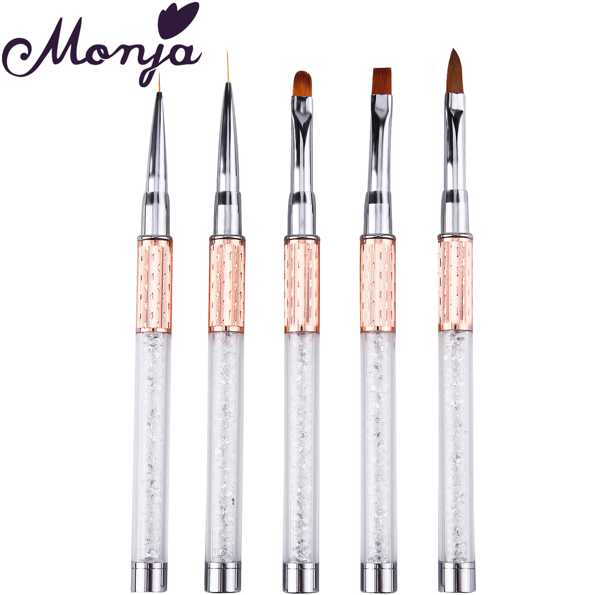Monja Nail Art Brush Made Of Acrylic Rhinestone Handle Material For Nail Liner Brush Tool 4
