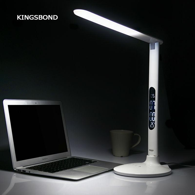 Бесплатная доставка Портативный 5 В USB LED настольная лампа с будильник календарь дисплей температуры внутреннего применения
