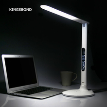 Free shipping portable 5V USB LED table lamp reading lamp with alarm clock calendar temperature display indoor application