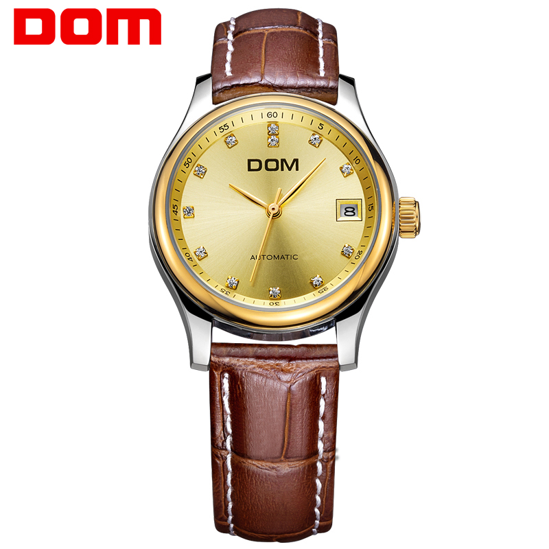DOM Mens Watches Top Brand Luxury Business Mechanical Watch Leather Gold Clock Men Waterproof Wristwatch relogio masculino M-95 dom mens watches top brand luxury automatic mechanical watch hollow men s watch waterproof wristwatch relogio masculino