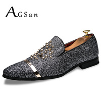 AGSan Luxury Brand Men Loafers Silver Black Diamond Rhinestones Spiked Loafers Rivets Shoes Male Designer Wedding