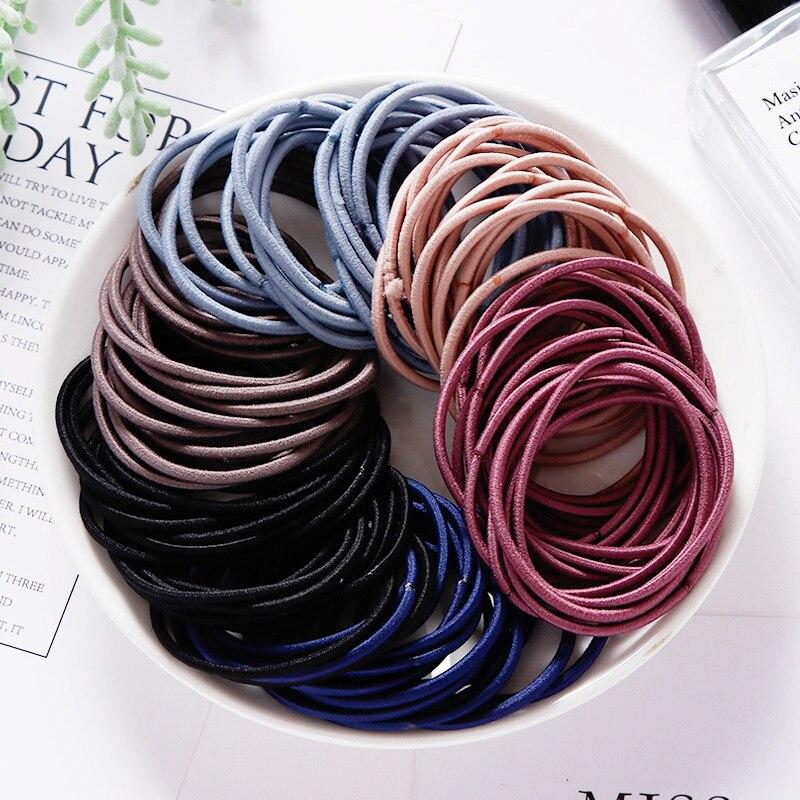 New 50/100PCS Women 4.5CM Basic Nylon Elastic Hair Bands Ponytail Hair Scrunchie Rubber Bands Headband Hair Accessories   Headwear