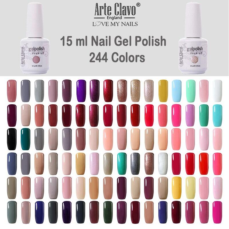Arte Clavo Gel Lak Nail Polish UV Hybrid Nail Gel 15 ML Glitter Fast Dry Manicure 244 Colors Varnish Pink Nude Semi Permanent(China)