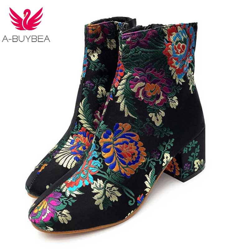 Women Floral Fabric Ankle Boots Woman Chunky Square Mid High Heel Round Toe Black Flower Embroidery Fashion Zipper Booties Shoes все цены