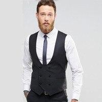 دعوى جديدة ma3 jia3 أسود الدعاوى مزدوجة الصدر الرجال صدرية الأزياء سترة عالية الجودة فستان الزفاف أفضل رجل صدرية