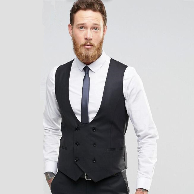 new Suit ma3 jia3 Black double breasted men waistcoat Fashion groom tuxedos vest high quality wedding best man dress Waistcoat