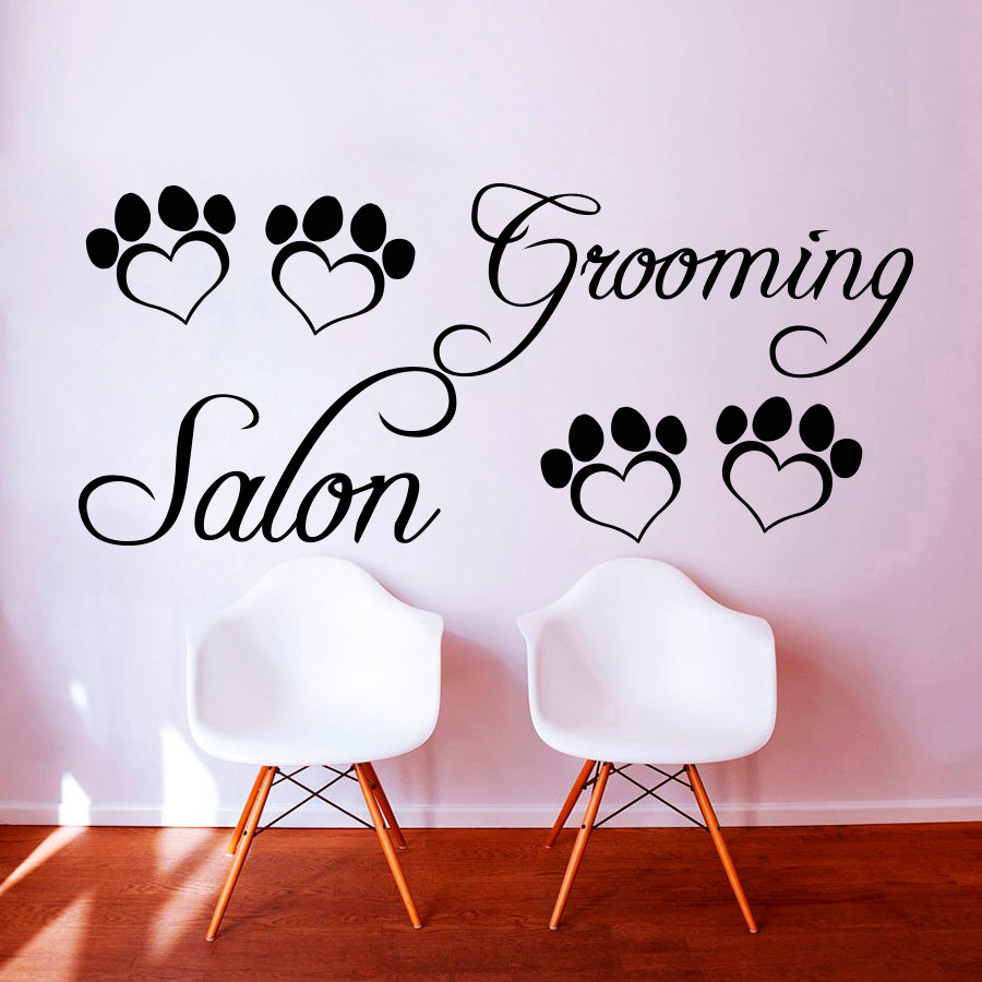 ZOOYOO Grooming Salon Heart Shaped Paw Print Wall Sticker DIY Removable Home Decor For Pet Shop