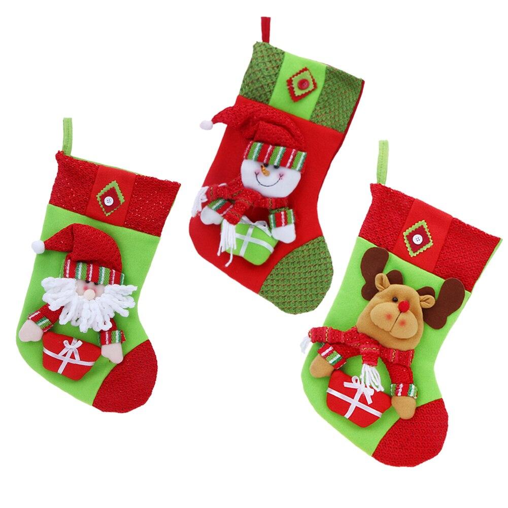 2017 Рождество Чулки для женщин Носки для девочек Санта Клаус Конфеты мешочек Navidad Подарки Украшения елка Аксессуары мешок конфет