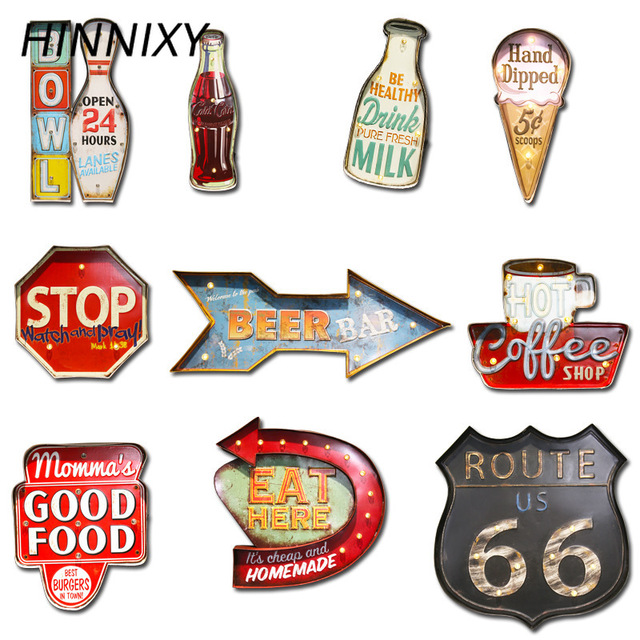 Hinnixy Vintage LED Wall Lamp Independence Day Coffee Bar Home Iron Art Decorative Ice Cream Cola Arrow Route 66 Night Lights