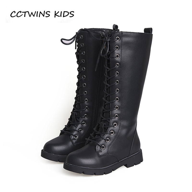 CCTWINS KIDS 2018 Autumn Baby Pu Leather Shoe Girl Brand Knee High Boot Toddler Fashion Black Boot Children H020 cctwins kids 2017 children brand high boot kid fashion over the knee boot baby girl toddler genuine leather black shoe c1312