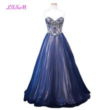LISM 2018 New Arrival Women Tulle Long Prom Dresses Sparkly Backless Princess Dress Sweetheart Crystal Beaded Quinceanera