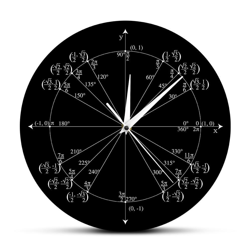 Unit Circle Math Teacher Wall Clock Trigonometry Pre Calculus Classroom Decor Geometry Radian Labeled Angles Values Wall Clock circle