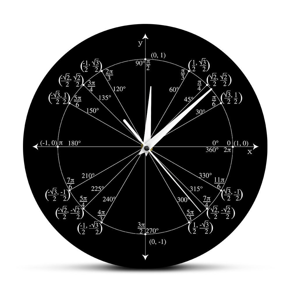 Unit Circle Math Teacher Wall Clock Trigonometry Pre Calculus Classroom Decor Geometry Radian Labeled Angles Values Wall Clock