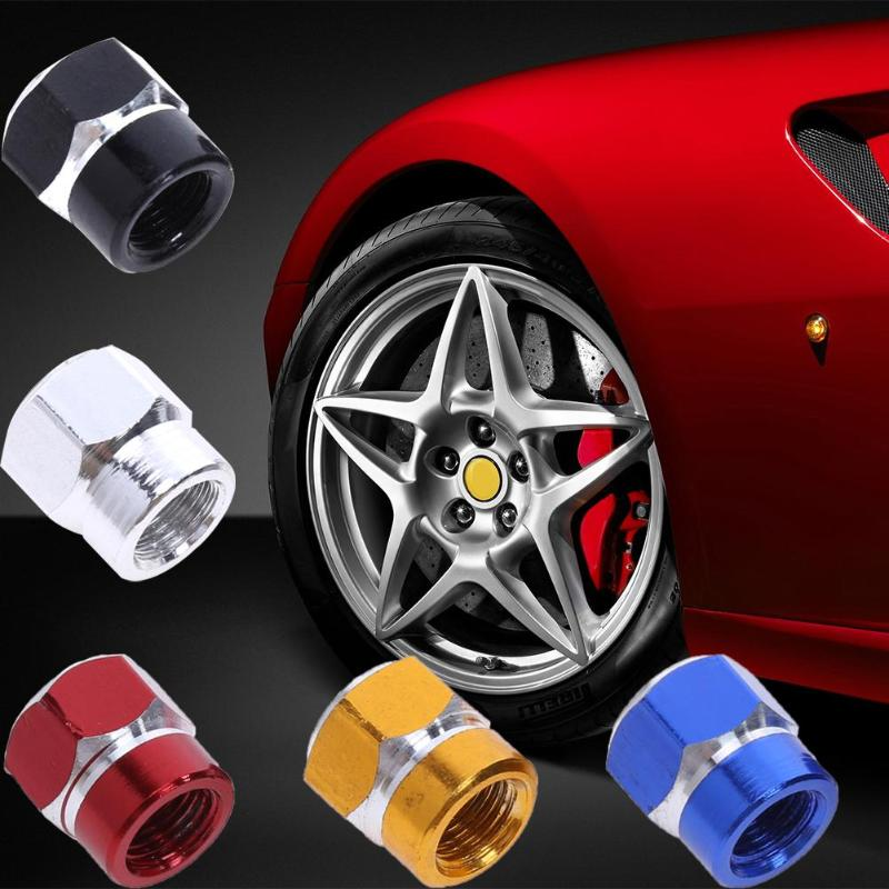 TUPARTS 4 Pieces Wheel Dust Stem Valve Caps Universal Aluminum Metal with Red Spike Compatible with Car Truck Motorcycle Bicycle