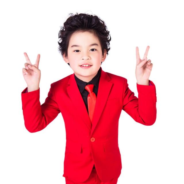 Высокое Качество 2017 элегантный Благородный Нагрудные Малыш Смокинги мальчика Камвольно Красный Цвет Регулярные Специальные свадебные Мальчиков Наряд XY003