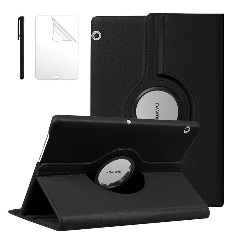 360 Rotating Litchi Flip Stand Leather Cover For Huawei MediaPad T5 10 AGS2-W09/L09/L03/W19 10.1 Inch Tablet Case+Film+Pen