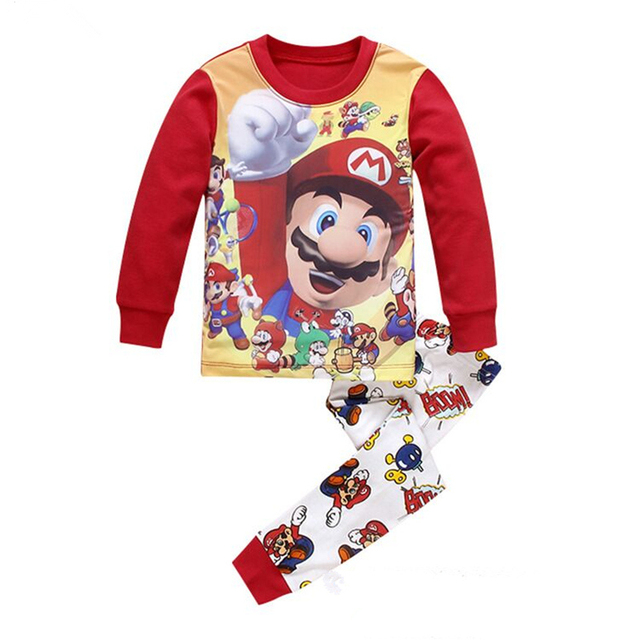 41e31a2b1 Kids Christmas Mickey Pyjamas T-shirt Stripe Pants 2pcs Children Pajamas  Set Baby Girl Boy Super Mario Warm Cotton Clothing Suit