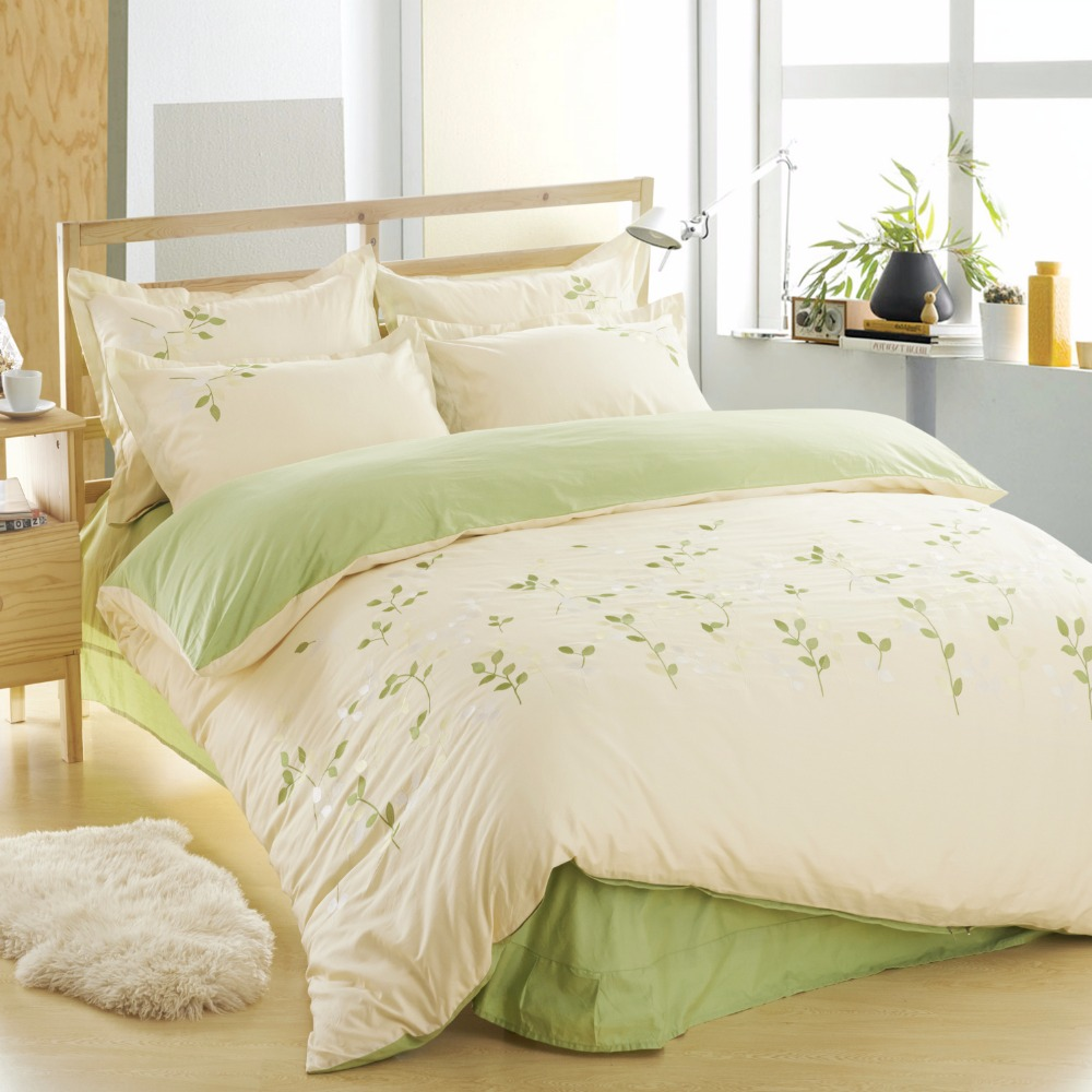 100 cotton leaf bedding set green bed sheets embroidered - Drap housse king size ...