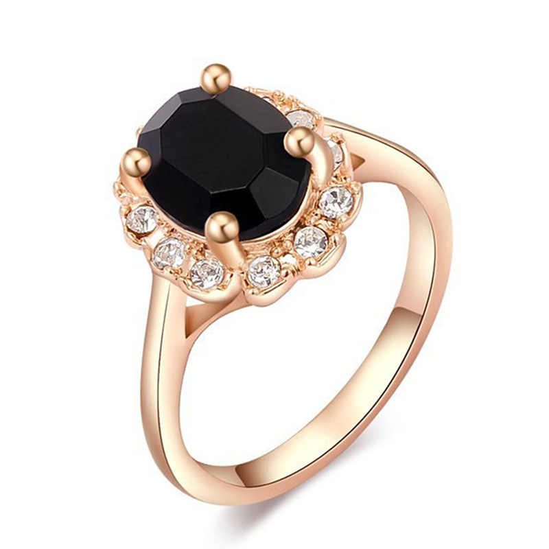 Modyleブランド黒/青/緑/紫水晶女性のためのゴールド色のリングファッションジュエリーニッケル送料
