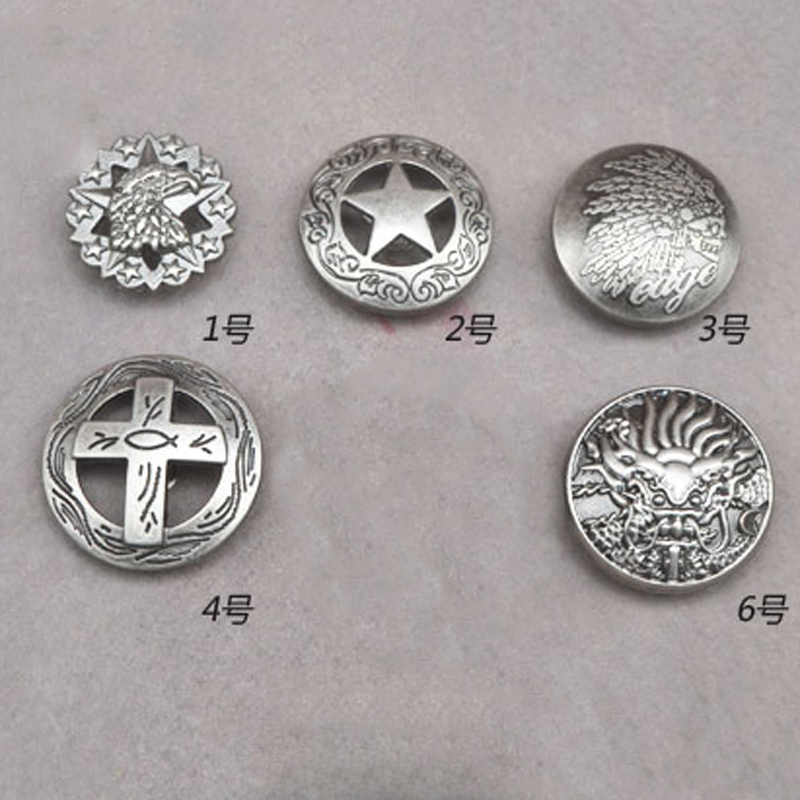 Antique Silver Color Leather Craft Caibu Button DIY Wallet Decoration Rivet And Studs With Screws Eagle Cross Indian Design 10pc