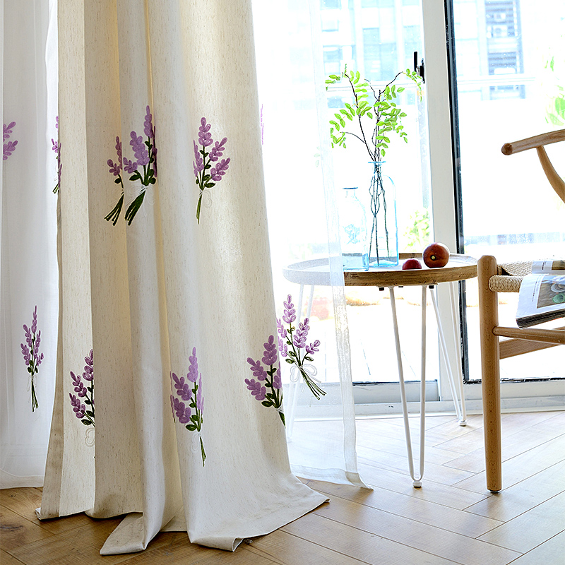 Fresh Rural Embroidered Curtains For Living Dining Room Bedroom Linen Blended Fabric Curtain Finished Tfy