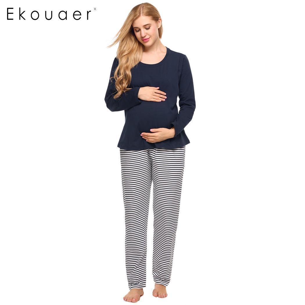 Ekouaer Women Sleepwear Set Pajamas Nursing Maternity Breastfeeding Pajama Sets Long Sleeve T-Shirt Striped Bottom Pants Suits