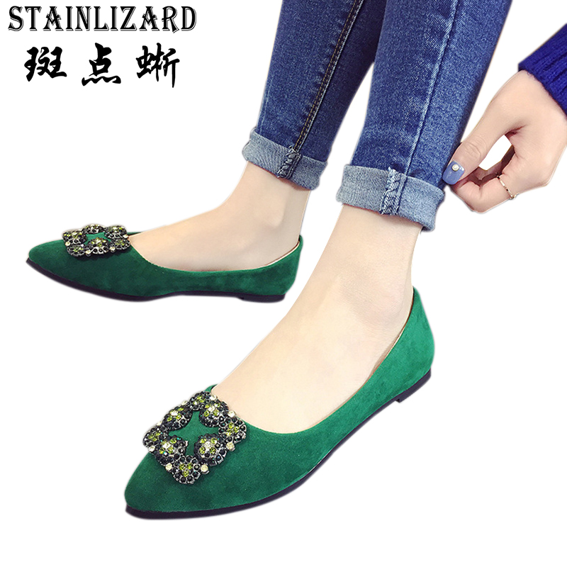 Hot Sale Women Casual Shoes 2017 Spring Pointed Toe Women Flats New Fashion Classic Crystal Flat Ladies Shoes ST436 2017 new fashion spring ladies pointed toe shoes woman flats crystal diamond silver wedding shoes for bridal plus size hot sale