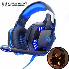 KOTION EACH Gaming Headphones Headset Deep Bass Stereo wired gamer Earphone Microphone with backlit for PS4 phone PC Laptop(China)