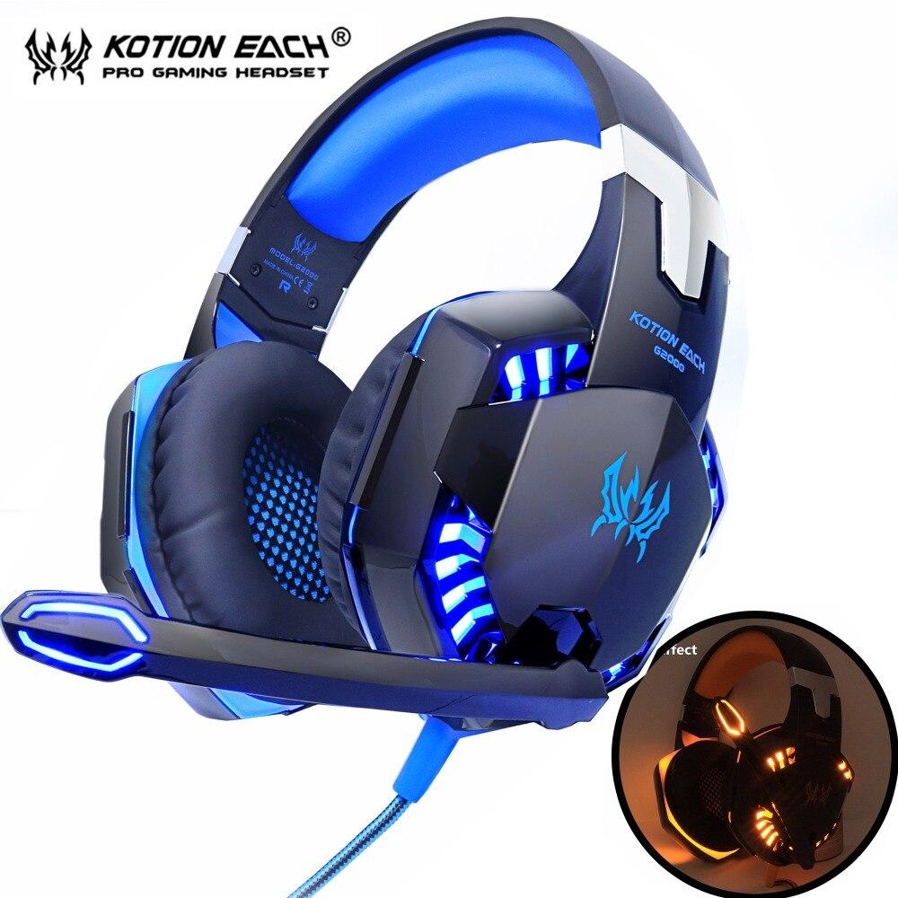 KOTION cada auricular para juegos auriculares graves profundos estéreo con cable auricular micrófono con retroiluminación para PS4 teléfono PC portátil