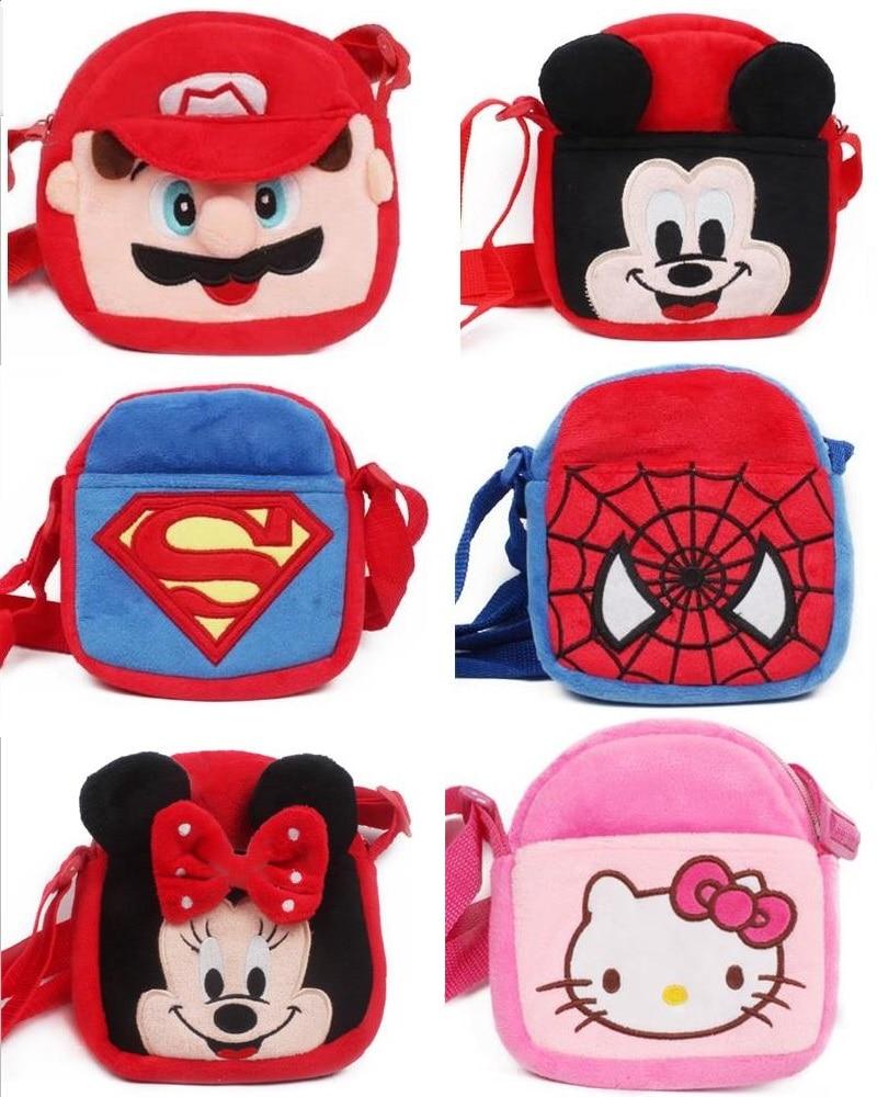 a0a416f395d9 Новый Kawaii Милые Плюшевые сумка Супермен Человек-паук Бэтмен микки Марио  рисунок игрушки детям сумки мультфильм мини сумка