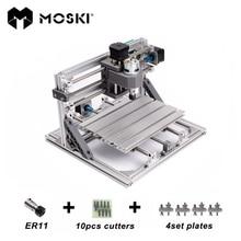 MOSKI, CNC 2418 con ER11, bricolaje mini cnc máquina de grabado láser, Pcb Milling Machine, máquina de Talla De Madera, cnc router, cnc2418, juguetes