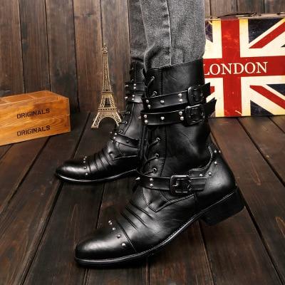 Sapatos Botas Europa Zipper Estados Da Coreano Couro Preto Homens Novos Black E Unidos Nos Britânicos Rebites De Moda Primavera 66AOqBg7