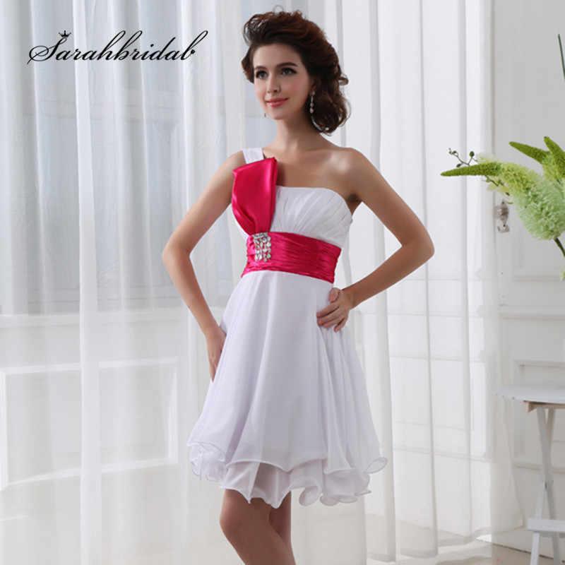 Basit Kısa Mezuniyet Elbiseleri Mezuniyet Parti Resmi 2019 Plise Bir Omuz balo Kokteyl Elbisesi SD017