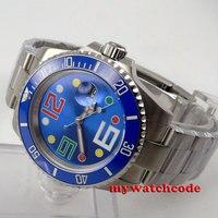 40mm bliger azul dial safira cristal data janela relógio automático dos homens p86|watch automatic men|watch men|watch men automatic -