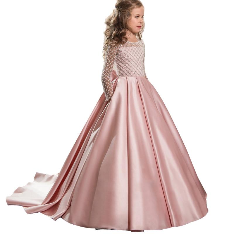 2019 Summer Bridesmaid Long Sleeve Trailing Princess Dress Elegant Satin Kids Dresses For Girls Children Party And Wedding Dress