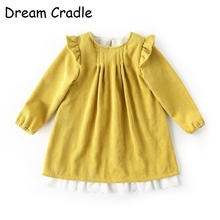 Dream Cradle/2019 Spring Autumn Corduroy Baby Girls Dress/Mustard Yellow Frocks Girl